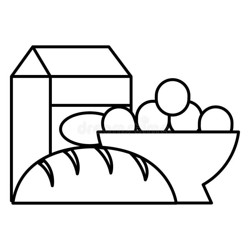 Wyśmienicie chleb z mleko jajkami i pudełkiem royalty ilustracja