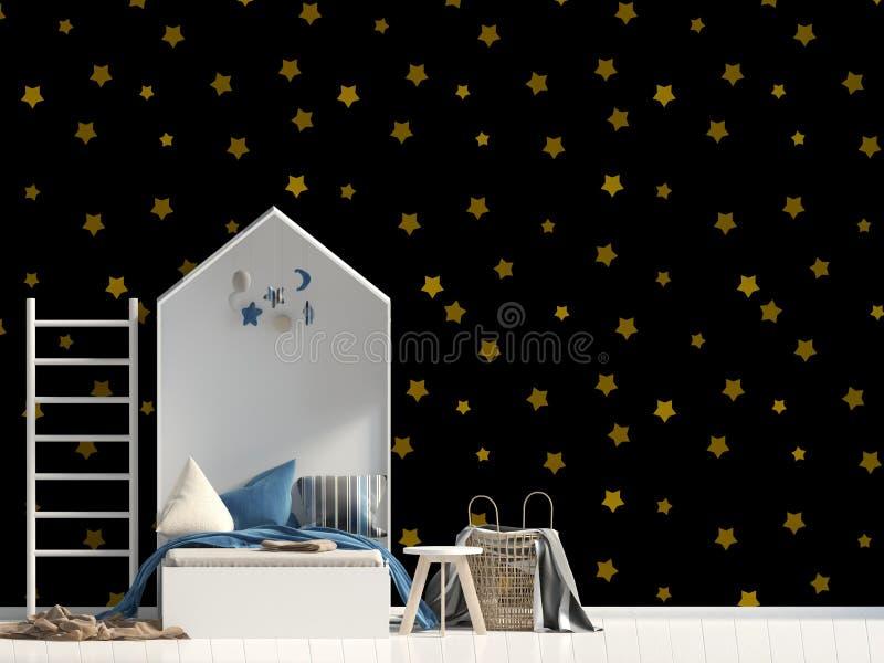 Wyśmiewa w górę ściany w wnętrzu dziecko sypialny miejsce ilustracja wektor