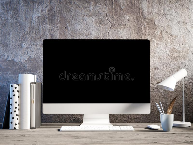 Wyśmiewa w górę pracującej przestrzeni, desktop, rocznika pokój, royalty ilustracja