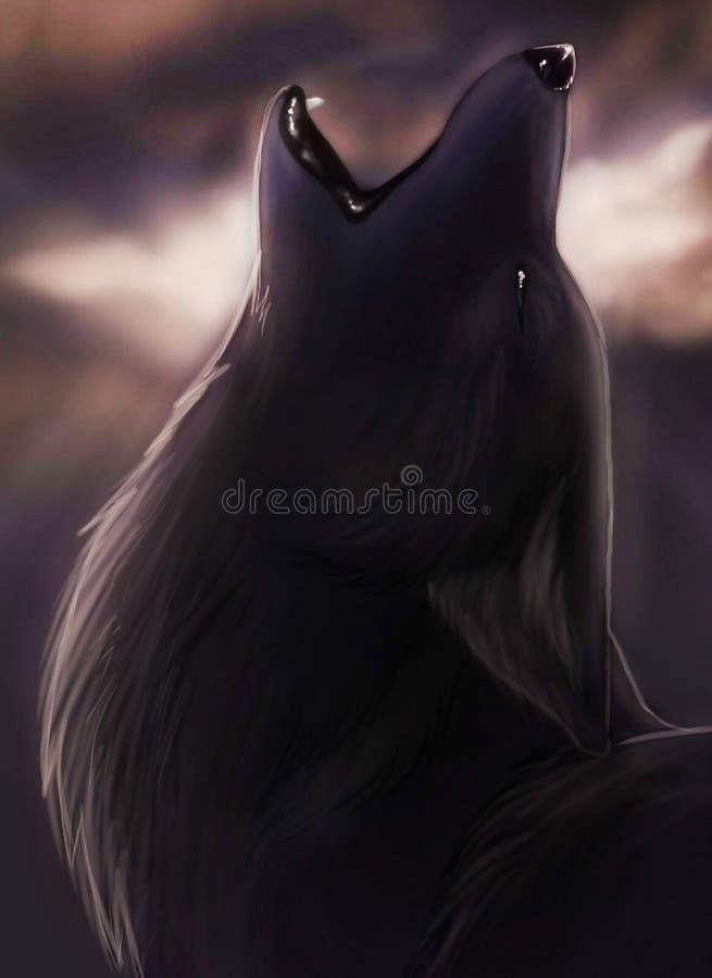 Wyć noc czarnego dzikiego wilka obrazy royalty free