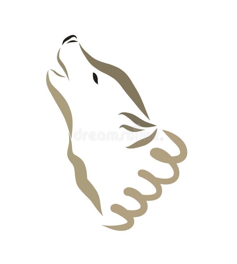 Wyć wilka lub psa, głowa royalty ilustracja