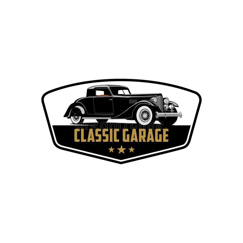 Wyłączna klasyczna samochodowa kolekci naprawa i garażu loga wektor ilustracji