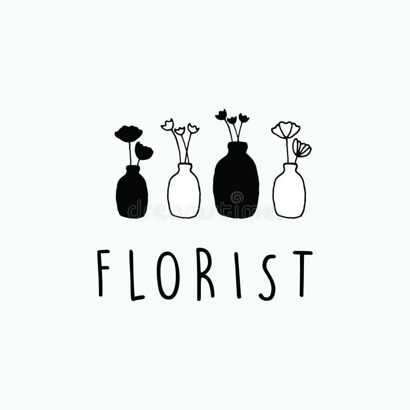Wyłączna ręka rysująca minimalistyczna kwiat waza royalty ilustracja