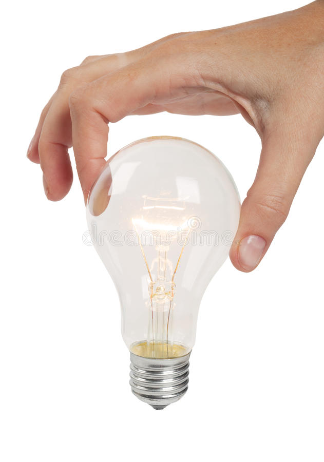 Wyłaczający na lampie w kobiety ręce zdjęcie stock
