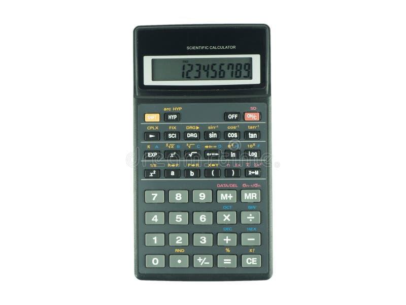 Wyłaczający na naukowym kalkulatorze na białym tle fotografia royalty free