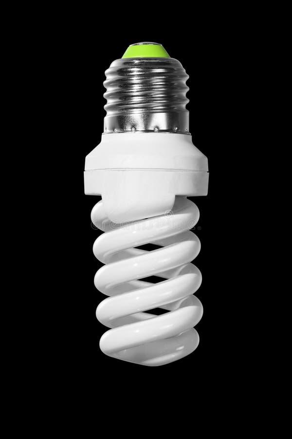 Wyłaczający z ścisłej fluorescencyjnej lampy z ślimakowatą tubką odizolowywającą na czerni obraz royalty free