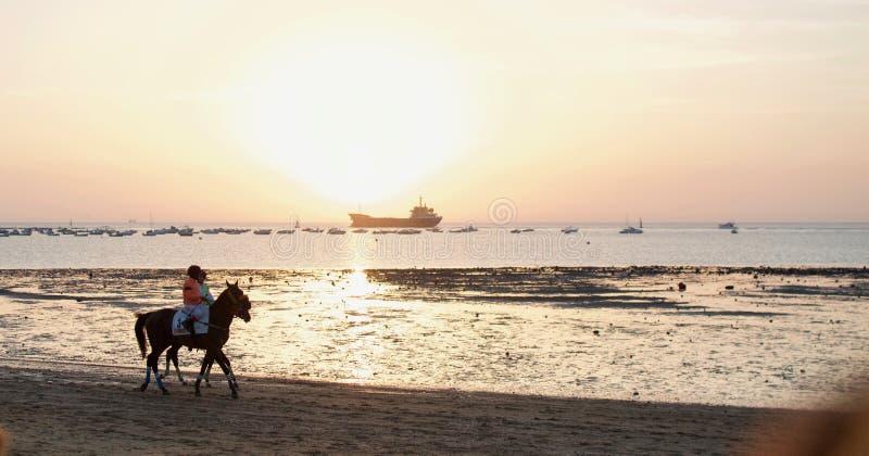 Wyścigi Konny przy plażą Sanlucar De Barrameda, Cadiz zdjęcie stock
