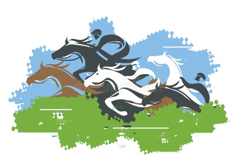 Wyścigi Konny skok Nad przeszkodą royalty ilustracja