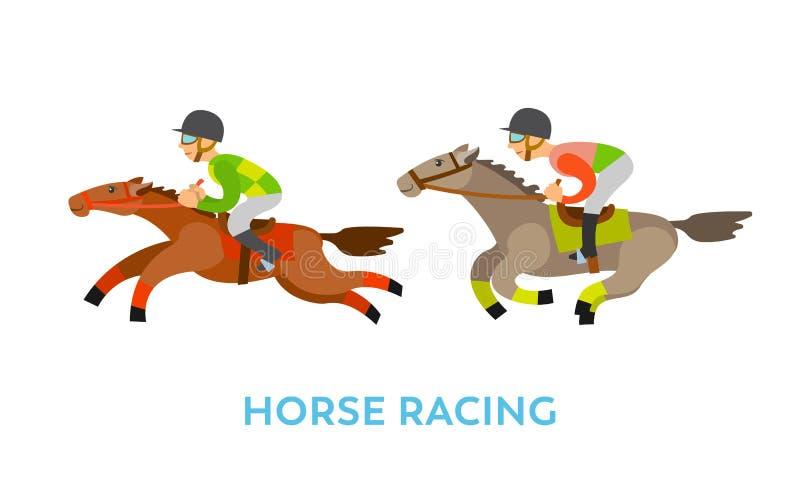 Wyścigi Konny sport, ludzie Jedzie zwierzę prędkość ilustracji