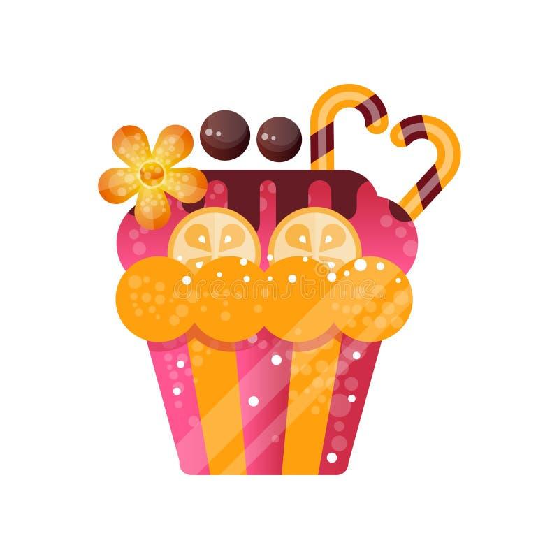 Wyśmienicie śmietankowa babeczka, słodki ciasto dekorował z jagodami i cukierkami, deser dla przyjęcie urodzinowe wektoru ilustracji