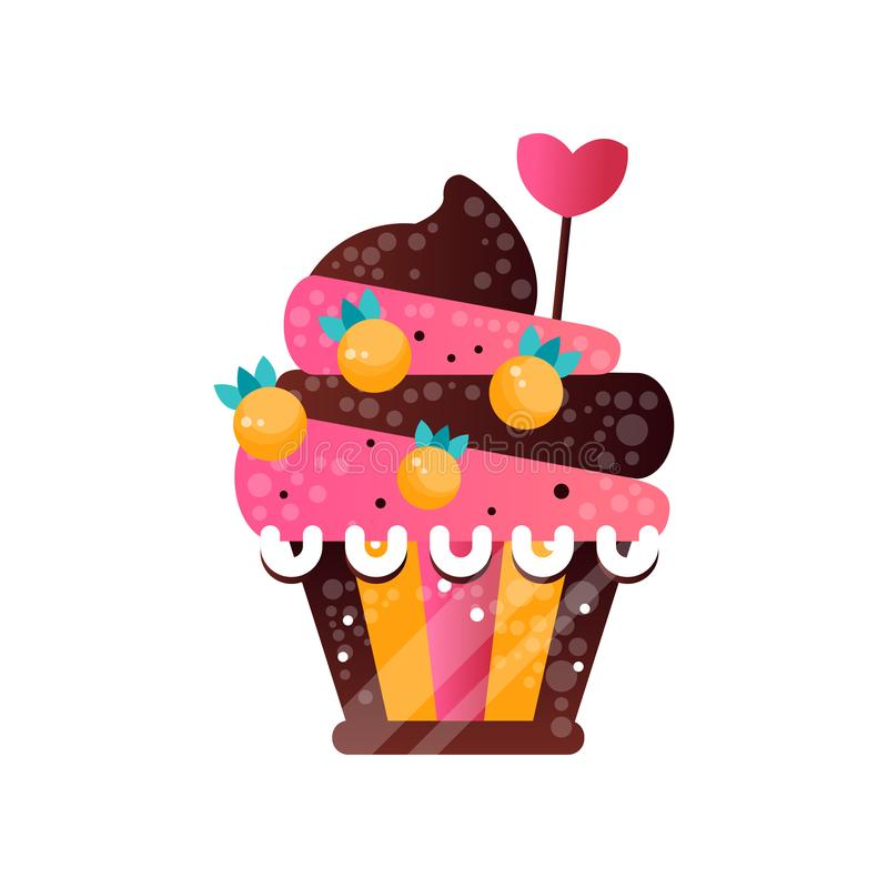 Wyśmienicie śmietankowa babeczka, słodki ciasto dekorował z jagodami i cukierku sercem, deser dla przyjęcie urodzinowe wektoru royalty ilustracja