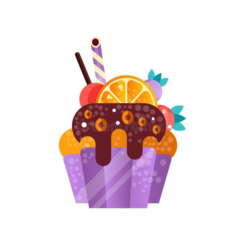 Wyśmienicie śmietankowa babeczka, słodki ciasto dekorował z owoc i cukierkami, deser dla przyjęcie urodzinowe wektoru ilustraci ilustracja wektor