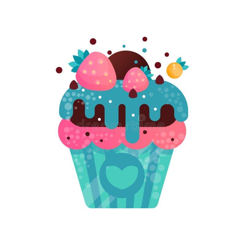Wyśmienicie śmietankowa babeczka, słodki ciasto dekorował z truskawkami, deser dla przyjęcie urodzinowe wektorowej ilustraci na a ilustracja wektor