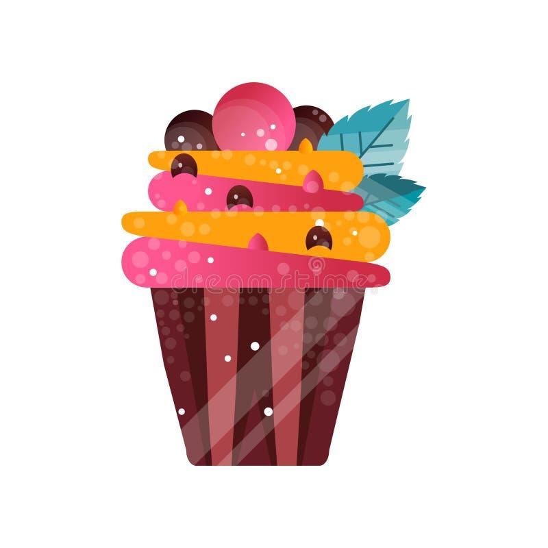 Wyśmienicie śmietankowa babeczka, słodki ciasto, deser dla przyjęcie urodzinowe wektorowej ilustraci na białym tle ilustracja wektor