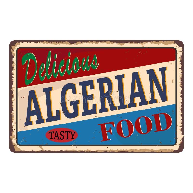 Wyśmienicie Algierski jedzenie słuzyć tutaj ośniedziała metalu znaka sieci odznaka ilustracja wektor