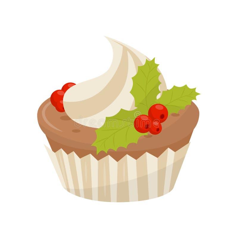 Wyśmienicie babeczka dekorująca z batożyć kremowymi i czerwonymi jagodami z zielonymi liśćmi Bożenarodzeniowy jedzenie Płaski wek ilustracji
