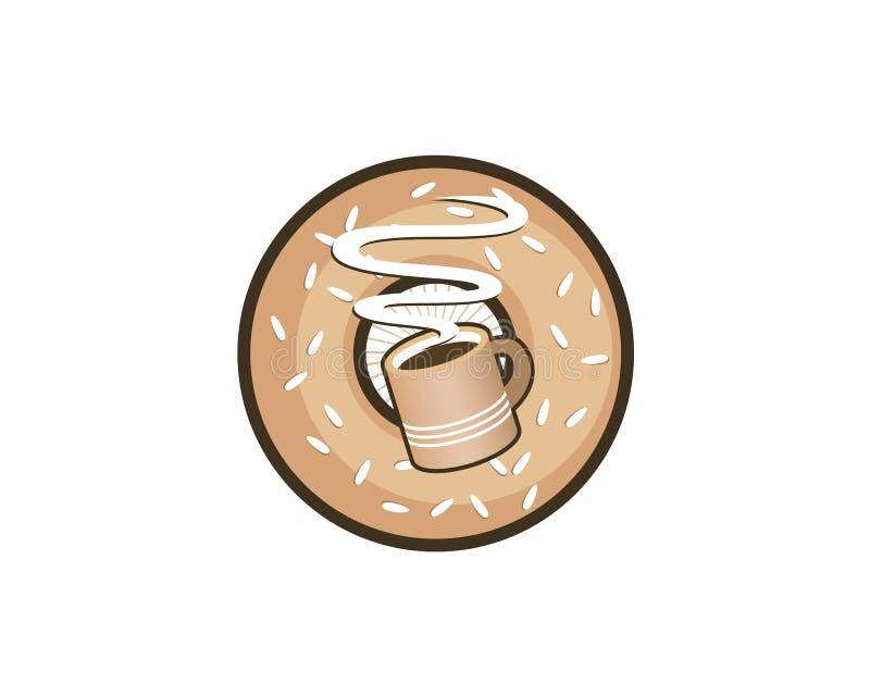 Wyśmienicie brązu bagel pączka gorąca kawowa cukierniana knajpa royalty ilustracja