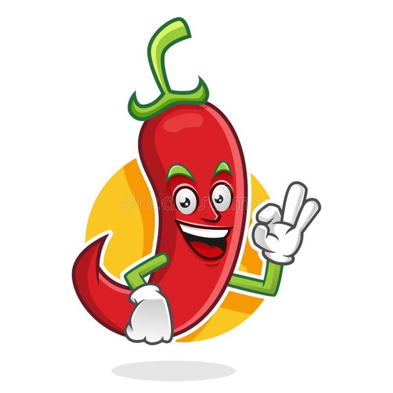 Wyśmienicie chili pieprzu maskotka, chili pieprzu charakter, chili animusz ilustracja wektor