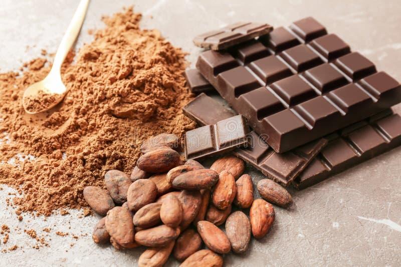 Wyśmienicie czekolada, kakaowy proszek zdjęcie stock