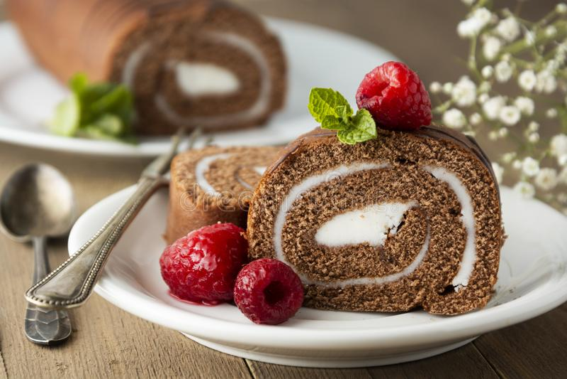 Wyśmienicie czekoladowy rolki gąbki tort z waniliową śmietanką i nowymi liśćmi Pustynny słodki jedzenie obraz stock