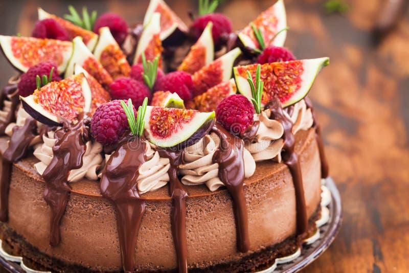 Wyśmienicie domowej roboty czekoladowy cheesecake dekorował z świeżą figą fotografia royalty free