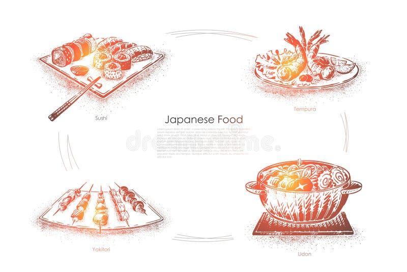 Wyśmienicie gość restauracji w Japonia, suszi, tempura, yakitori i udon, rzucamy kulą, owoce morza, japoński krajowy karmowy szta royalty ilustracja