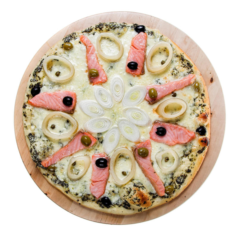 Wyśmienicie gorąca pizza z łososiem zdjęcie royalty free