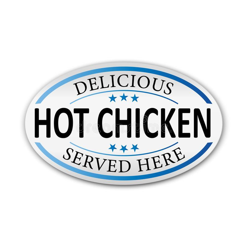 Wyśmienicie gorący kurczak słuzyć tutaj robić w Singapore sieci Wektorowej grungy pieczątce ilustracja wektor
