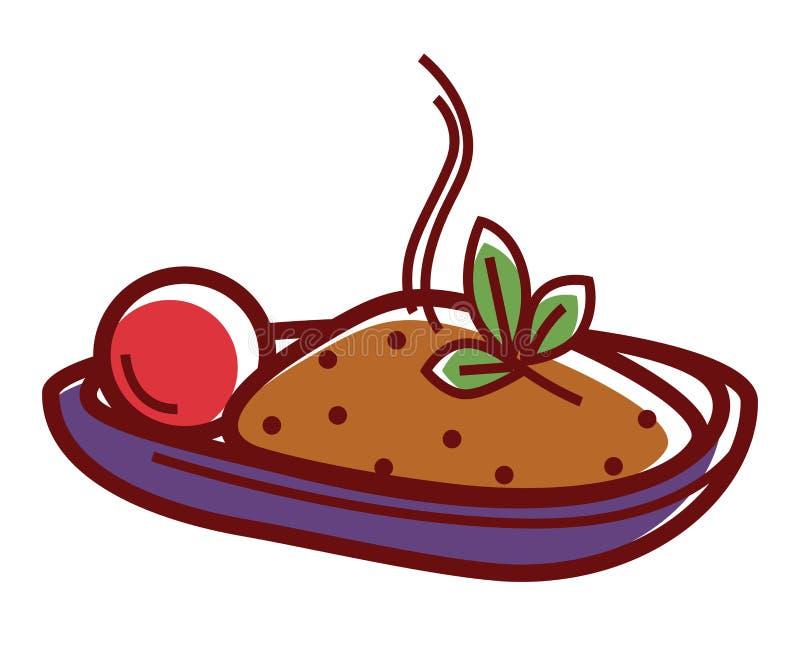 Wyśmienicie gorący pilaf z dojrzałym pomidorem i ziele royalty ilustracja