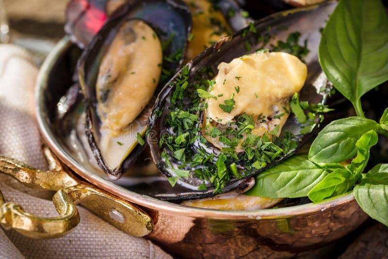 Wyśmienicie gotujący mussels z basilem w pięknej niecce fotografia stock