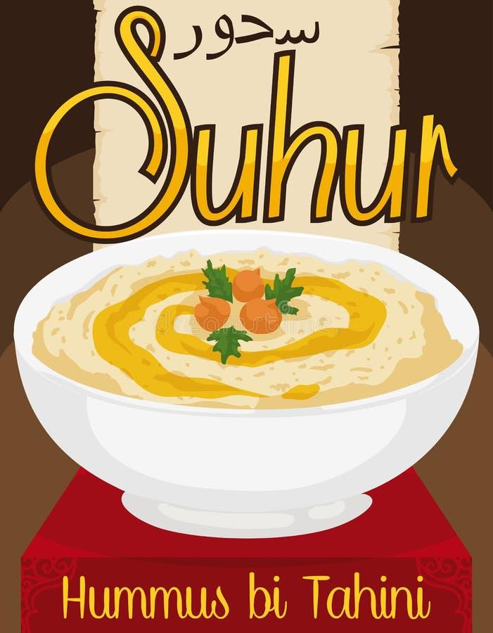 Wyśmienicie Hummus bi Tahini z oliwa z oliwek dla Ramadan ` s Suhur, Wektorowa ilustracja royalty ilustracja