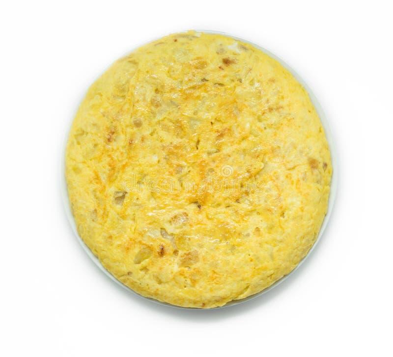 Wyśmienicie i tradycyjny Hiszpański omelette odizolowywający na białym tle obraz stock