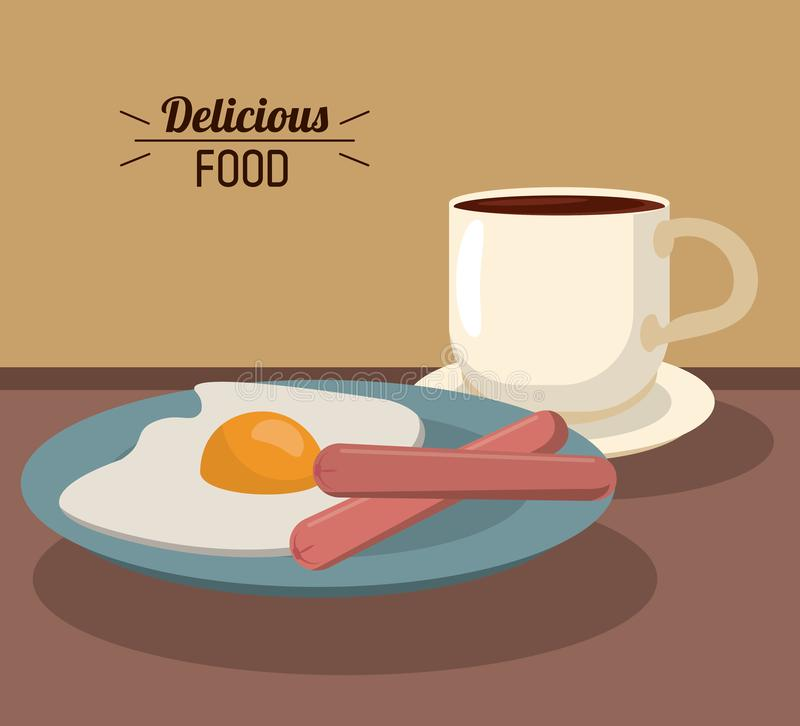 Wyśmienicie karmowy śniadanie z dłoniak jajecznymi kiełbasami filiżanką i ilustracja wektor