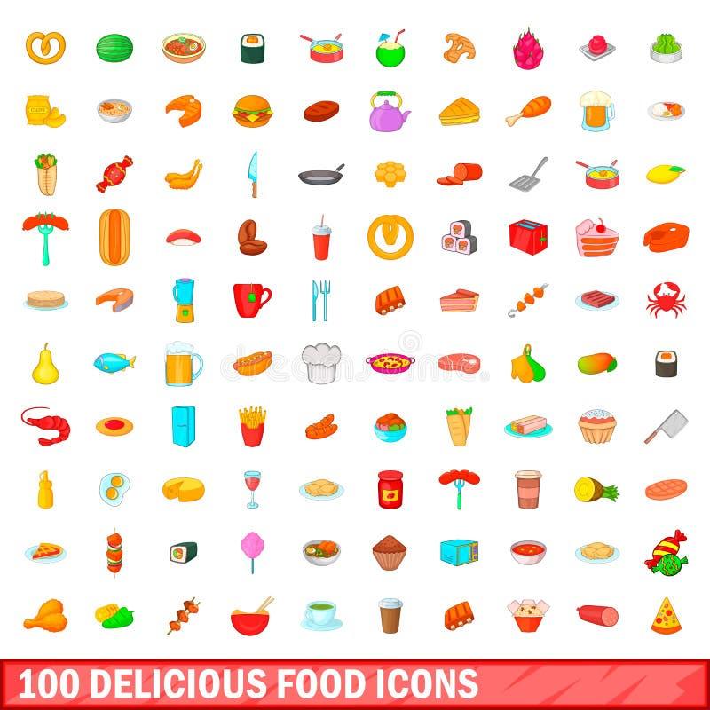 100 wyśmienicie karmowych ikon ustawiających, kreskówka styl royalty ilustracja
