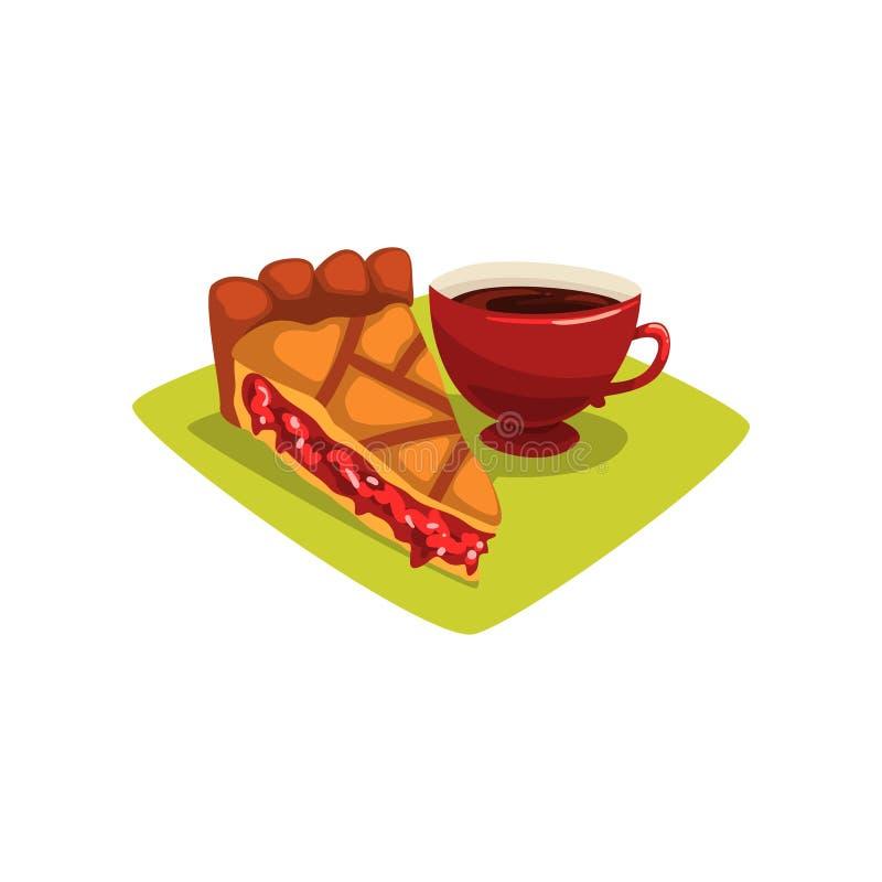 Wyśmienicie kawałek domowej roboty czarna jagoda kulebiak, filiżanka kawy na zielonej pielusze i Smakowity śniadaniowy pojęcie Cu ilustracji