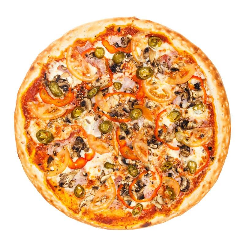 Wyśmienicie klasyczna Meksykańska pizza z bekonem, pieczarkami, pieprzami, cebulą, pomidorami, Jalapenos i serem, obrazy royalty free