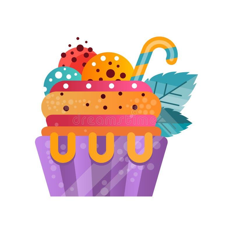 Wyśmienicie kolorowa śmietankowa babeczka, słodki deser dla przyjęcie urodzinowe wektorowej ilustraci na białym tle ilustracja wektor