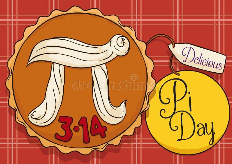 Wyśmienicie kulebiak nad Tablecloth i etykietkami Świętować Pi dzień, Wektorowa ilustracja ilustracja wektor