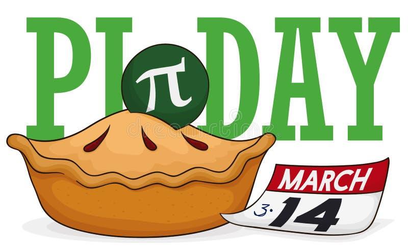 Wyśmienicie kulebiak z liścia kalendarzem Świętować Pi dzień, Wektorowa ilustracja royalty ilustracja