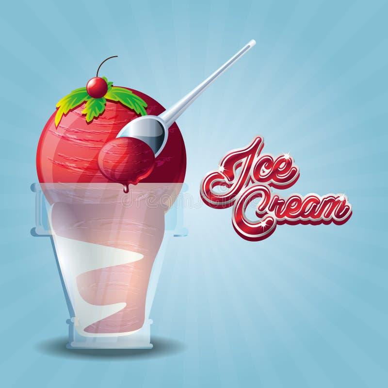 Wyśmienicie lody w szkle z łyżką ilustracja wektor