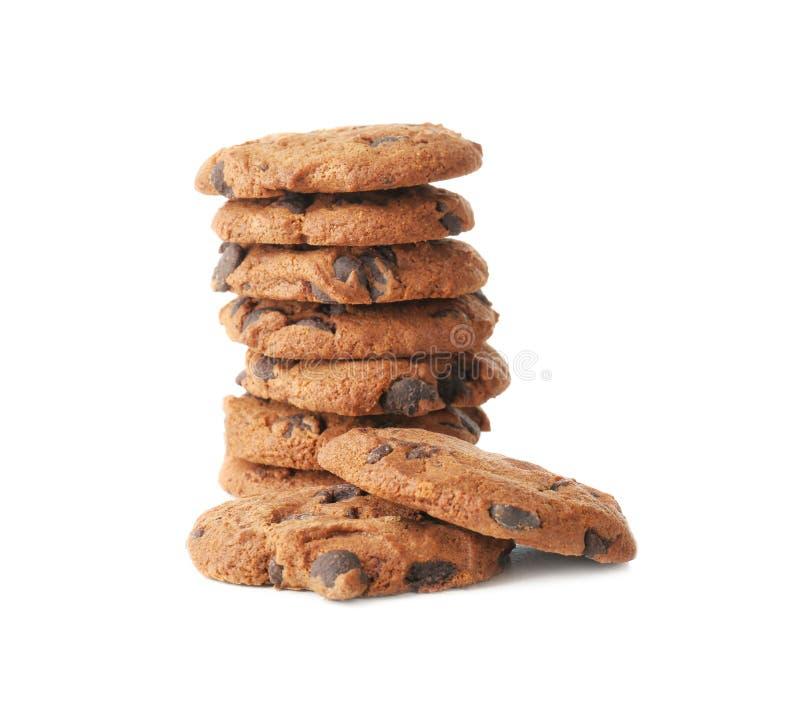 Wyśmienicie oatmeal ciastka z czekoladowymi układami scalonymi na tle zdjęcia stock
