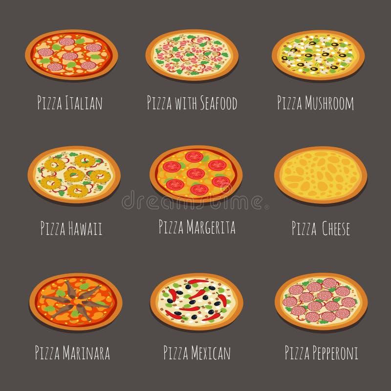 Wyśmienicie pizz ikony Pepperoni, margherita i inni włoscy pizza plasterki, odizolowywali wektorową ilustrację royalty ilustracja