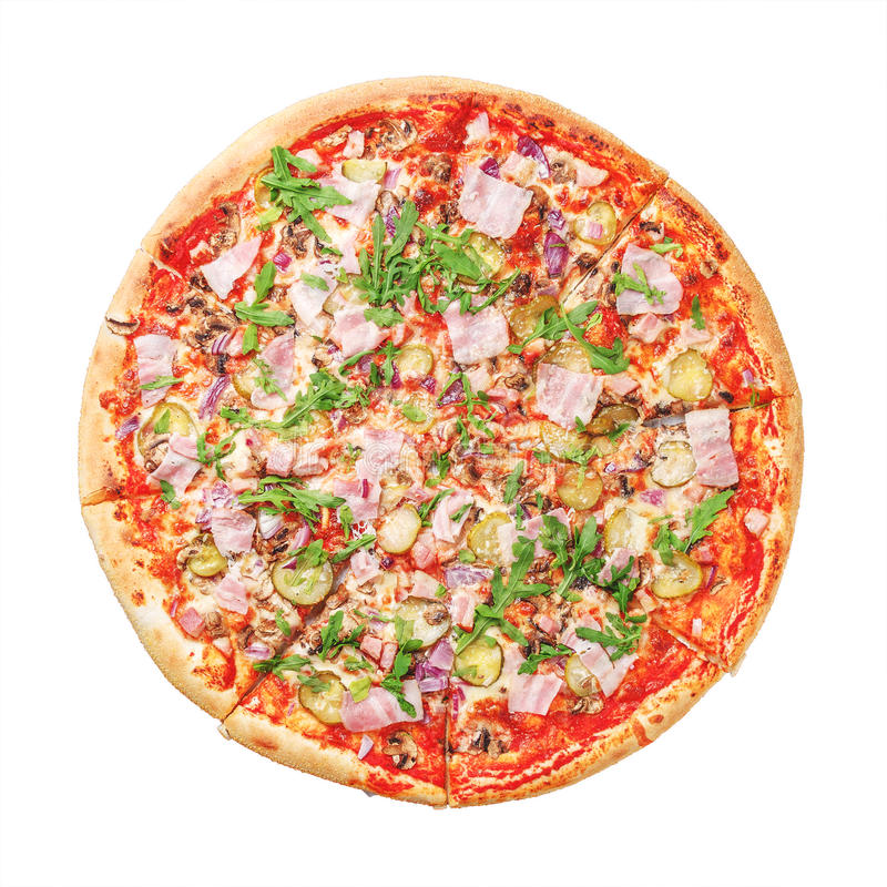 Wyśmienicie pizza z baleronem i arugula na bielu Odgórny widok obrazy royalty free