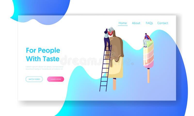 Wyśmienicie Słodki deser, strony internetowej lądowania strona, Malutcy charaktery na drabinach Dekoruje Popsicle lody z polewą,  ilustracja wektor
