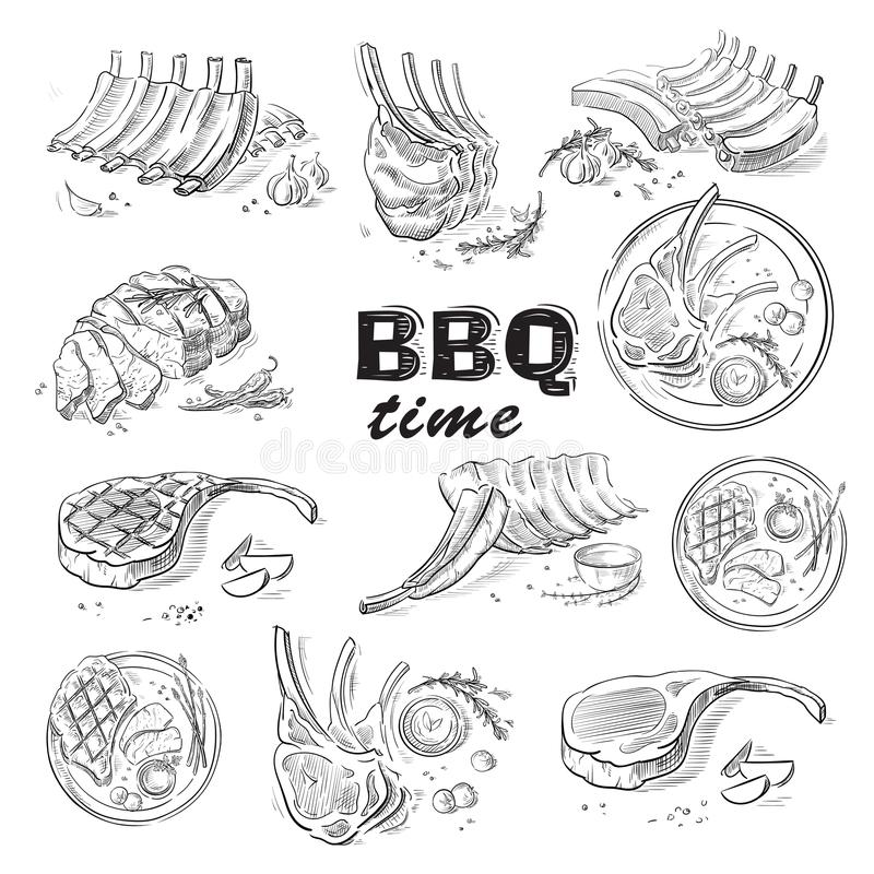Wyśmienicie smażący mięsny stek odizolowywający na białym tle ilustracji