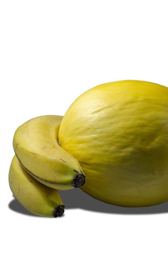 Wyśmienicie soczyści żółci banany i melon zdjęcie stock