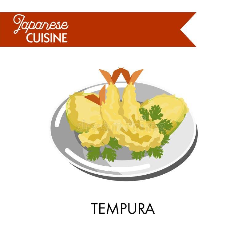 Wyśmienicie tempura robić królewiątko krewetki z pietruszką ilustracji