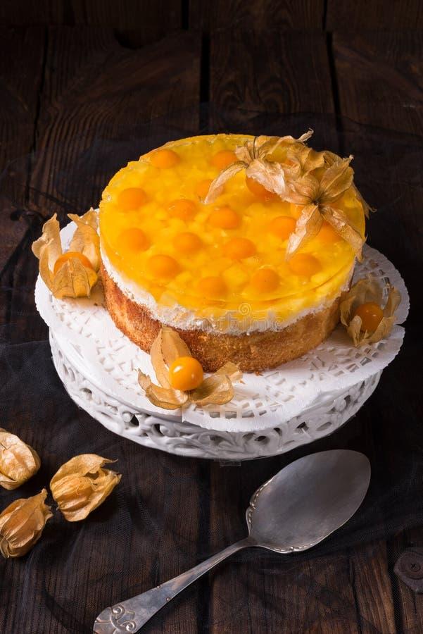 Wyśmienicie torty z pęcherzycą, świeżymi jabłkami i śmietanką, obraz royalty free