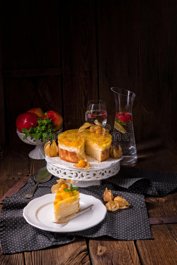 Wyśmienicie torty z pęcherzycą, świeżymi jabłkami i śmietanką, zdjęcia stock
