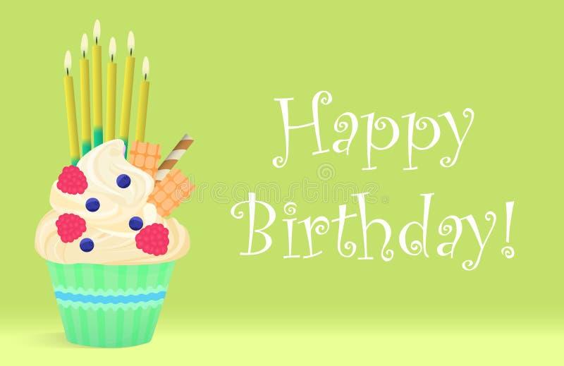Wyśmienicie Urodzinowa babeczka z świeczkami na lekkim tle szczęśliwy urodziny ilustracji